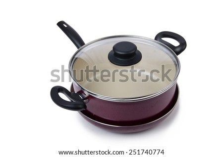 Kitchen utensils pan pot isolated on white - stock photo