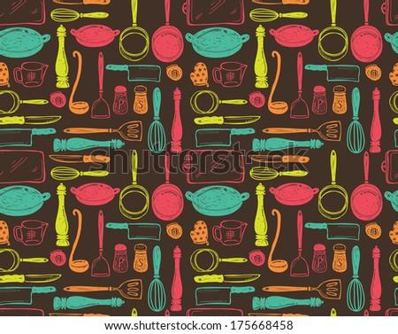 kitchen utensils seamless pattern - stock photo
