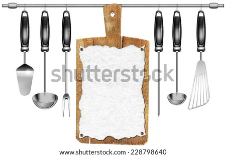 Kitchen Utensils with Cutting Board / Kitchen utensils and an old wooden cutting board with empty sheet of paper hanging on a steel pole isolated on white background - stock photo
