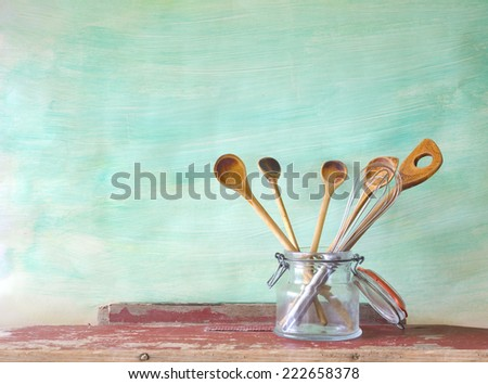kitchen utensils, wooden spoons, free copy space  - stock photo