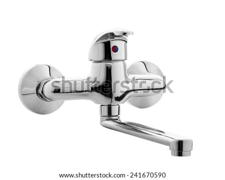 Kitchen Water Tap Isolated on White Background - stock photo