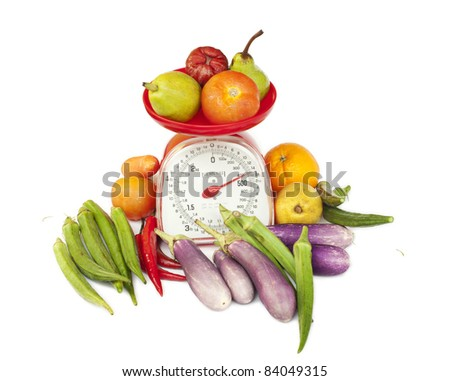 kitchen weight scale with diversity fruit and vegetables - stock photo