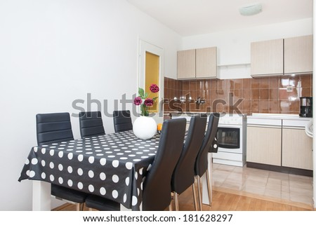 kitchen with a dining table