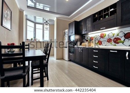 kitchen with appliances and a beautiful interior - stock photo