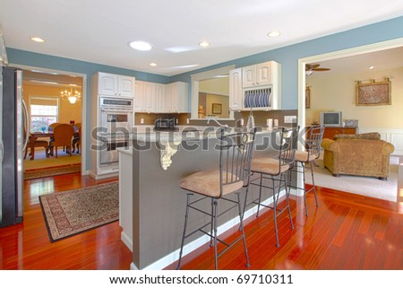 Kitchen with bar and living room - stock photo