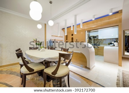 Kitchen with dining room - stock photo