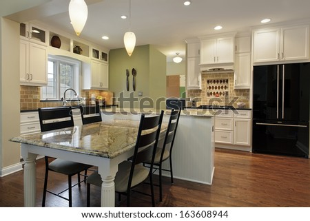 Kitchen with granite island and table