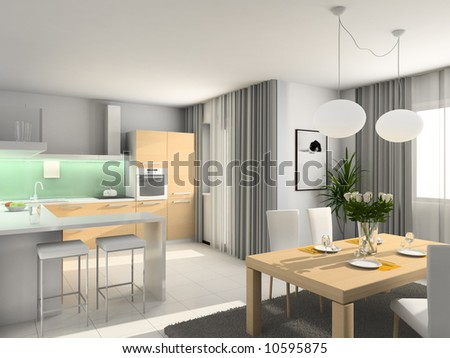 Kitchen with the modern furniture. 3D render