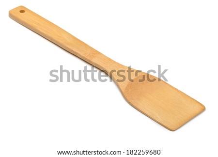 Kitchen wooden spatula isolated on white - stock photo