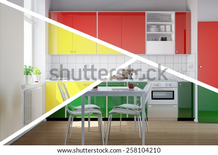 Kitchenette in kitchen with three different colors to choose from (3D Rendering) - stock photo