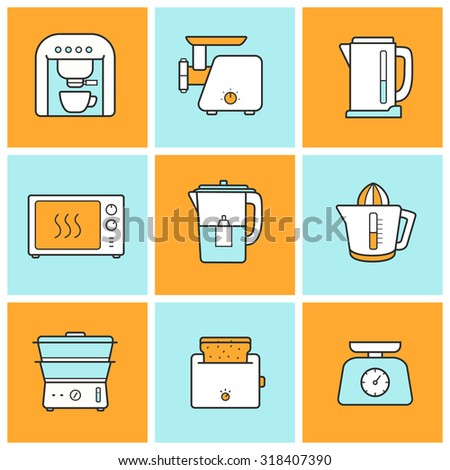 Kitchenware flat design inforgraphic color icons set. Modern kitchen appliances items. Cooking equipment. Raster - stock photo
