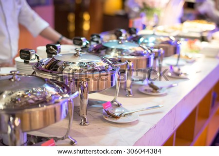 Kitchenware in the line catering buffet food  in luxury restaurant - stock photo