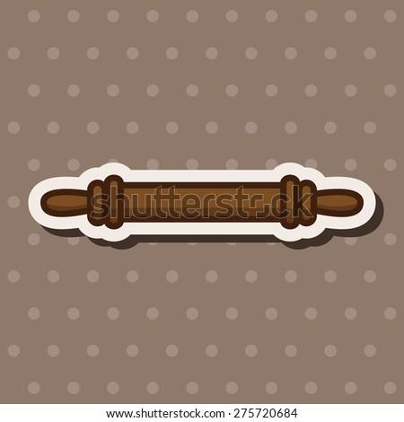 kitchenware rolling pin , cartoon sticker icon - stock photo