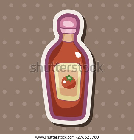 kitchenware sauce bottle , cartoon sticker icon