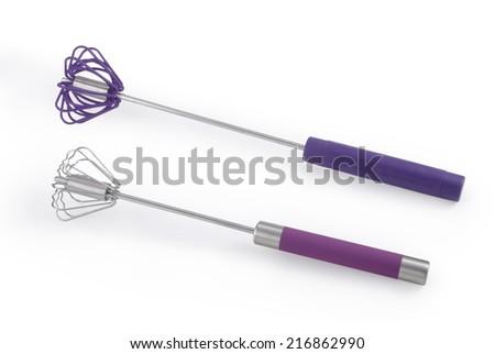 Kitchenware whisk isolated on white background - stock photo