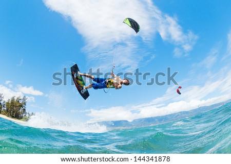 Kite Boarding, Fun in the ocean, Extreme Sport - stock photo