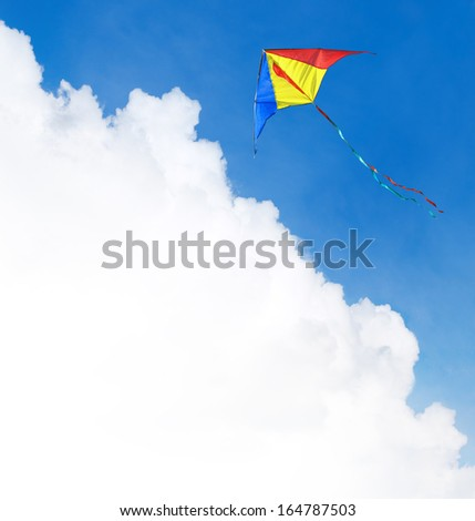 Kite flying in the sky. Template with a text field.