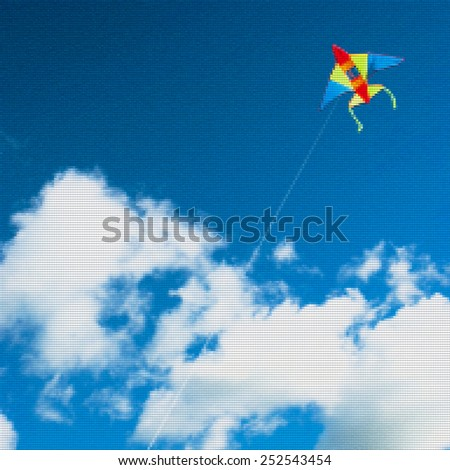 kite flying mosaic, dots background