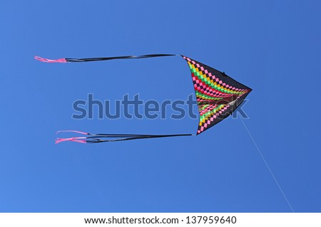 Kite flying on blue sky.
