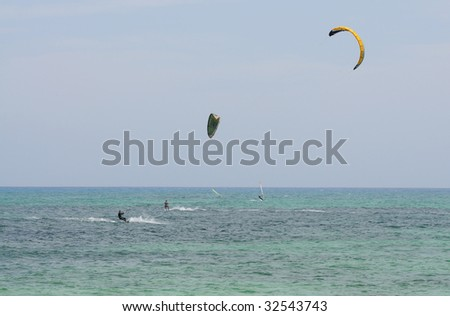 Kite surfer at the Canary Island Fuerteventura, Spain