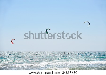 kite-surfers in action