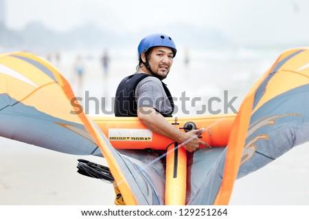 kite surfing - stock photo