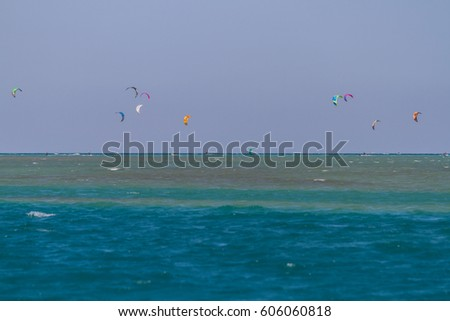 Kite surfing in the Red Sea