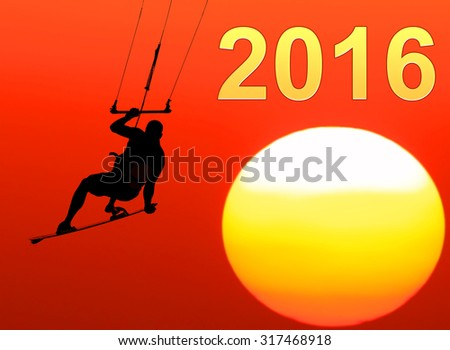 Kite-surfing on orange sunshine background with Number 2016 (Two thousand sixteen New year)  - stock photo