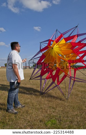 kite with abstract, color full kite at start position - stock photo