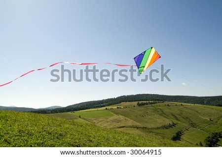 kite with summer landscape