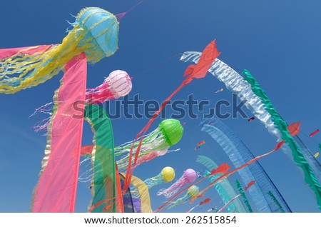 kites in the sky in summer - stock photo