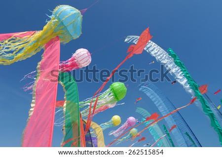 kites in the sky in summer - stock photo