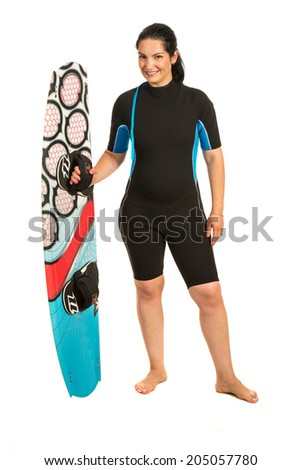 Kitesurfer woman in neoprene suit holding surfboard isolated on white background