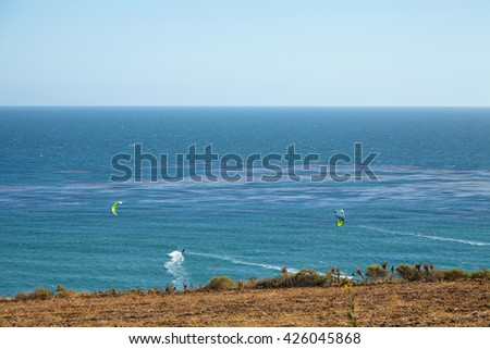 Kitesurfing in Malibu - stock photo