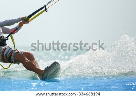 Kitesurfing, Kiteboarding action photos - stock photo
