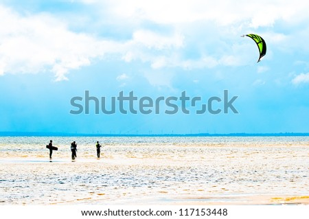 Kitesurfing lesson in shallow water. Chalupy , Poland - stock photo