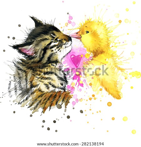 kitten and duckling T-shirt graphics, kitten, duckling illustration with splash watercolor textured. illustration watercolor kitten, duckling fashion print, poster for textiles, fashion design - stock photo