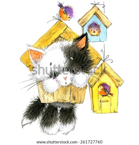 Kitten. kids background for celebrate festival and birthday party. watercolor - stock photo