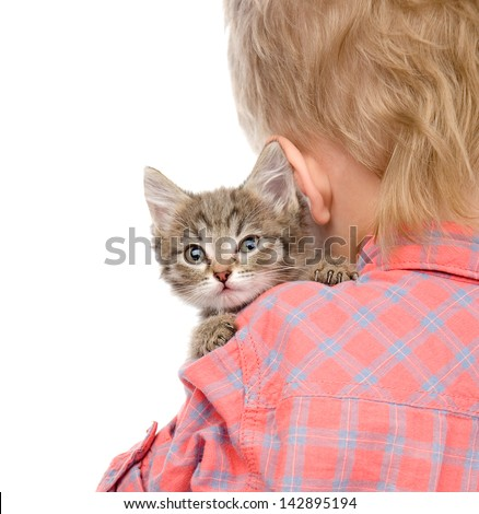 kitten peeping over the shoulder of a child. isolated on white background - stock photo