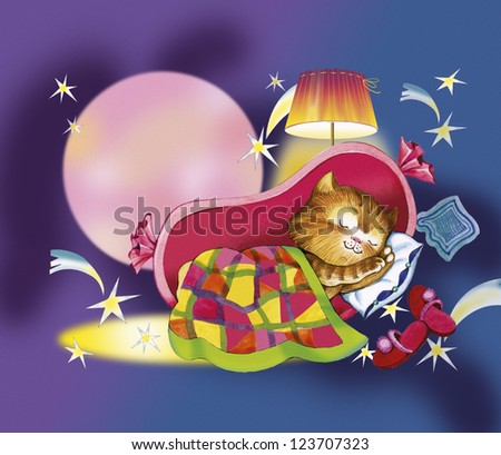 Kitten sleeps in crib. Red cat sleeps in the sausage. He nestled patchwork blanket. There are pillow, slippers, lampshade, dark-blue sky, falling stars and a full moon. this is story for children.