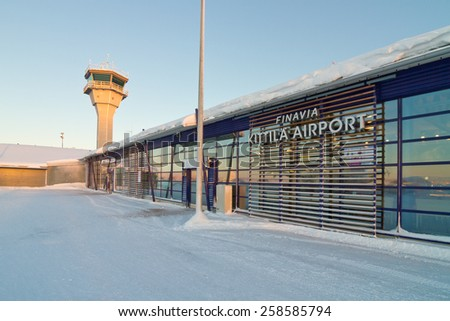 Kittila, Finland - January 19, 2015: Airport tower and airport terminal building in Kittila - gateway to Lapland in Finland. One of the fastest growing airports in Finland. - stock photo
