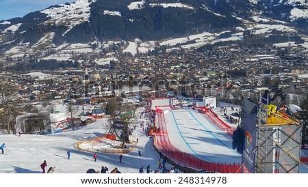 KITZBUHEL, AUSTRIA - JANUARY 22, 2015: Finish Area of the Hahnenkammrace (Training Day) - stock photo