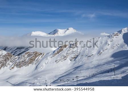 Kitzsteinhorn Kaprun Austria during winter time  - stock photo
