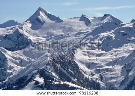 Kitzsteinhorn peak and ski resort, Austrian Alps - stock photo