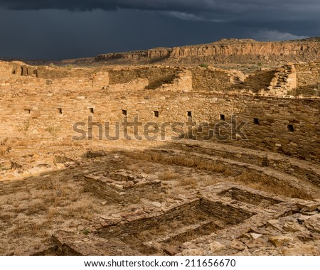 Kiva at Pueblo Bonito at the Chaco Culture National Historical Park in New Mexico - stock photo