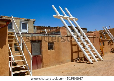 Kivas (ladders) at the Acoma Indian Reservation, also known as Sky City, outside Albuquerque, New Mexico