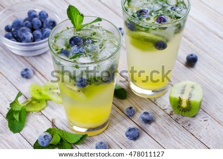 Kiwi and blueberry mojito.  Frozen summer berries cocktail