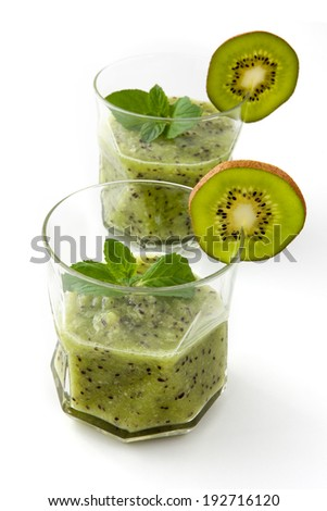 Kiwi and lemon in summer cocktails - stock photo