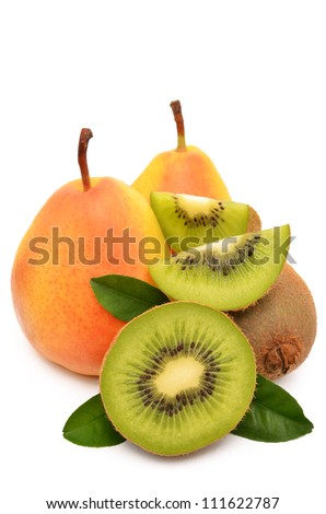 Kiwi and pear on a white background