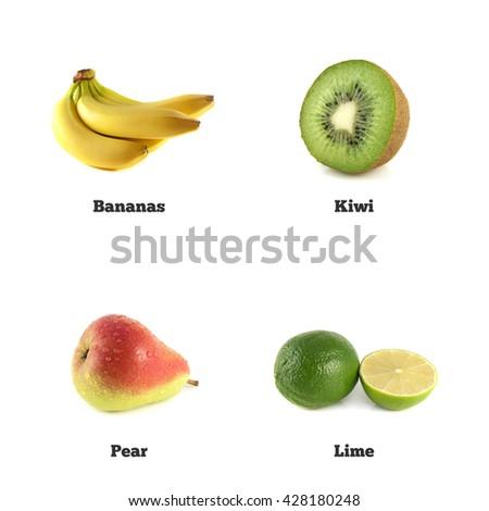 Kiwi, banana and lime. Red pear fruit isolated. Fresh natural banana. Health organic banana. Object on white background. Beautiful tasty banana. - stock photo